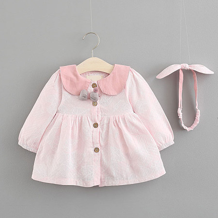 Doll Collar Bowknot Button Front Flare Dress