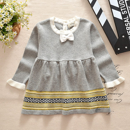 Knit Tribal Print Bowknot Decorated Dress