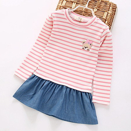 Cartoon Bear Pattern Stripe  Patchwork Dress