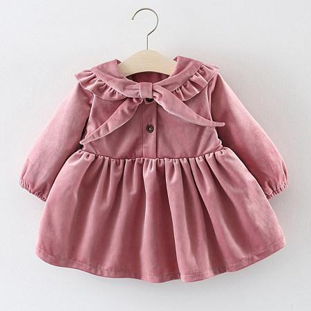 Velvet Solid Color Ruffle Trim Pleated Dress
