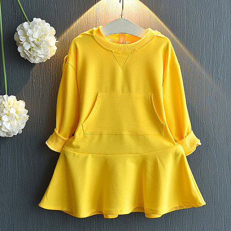 Solid Color Hooded Drawstring Pleated Dress