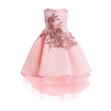 Stereoscopic Flower Decorated  Self Tie Zipper Back Princess Dress