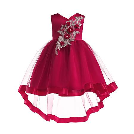 Stereoscopic Flower Applique Lace  Self Tie Tulle  Princess Dress
