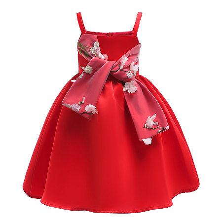 Flower Applique Solid Color Self Tie Cami Princess Dress