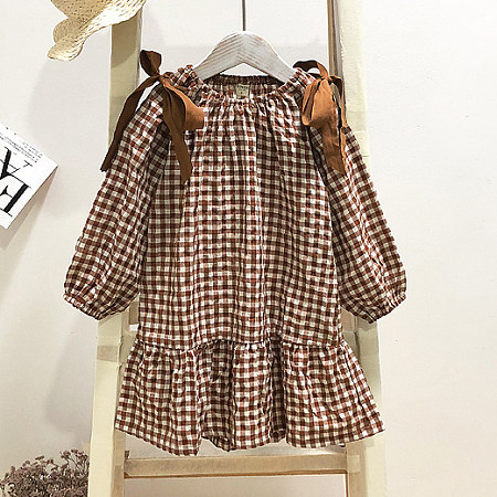 Plaid Self Tie Round Neck Dress