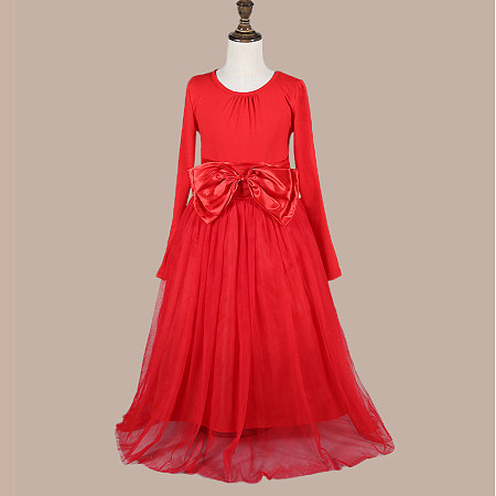 Bowknot Decorated Tulle Red  Princess Dress
