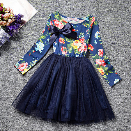 Bowknot Flower Print Round Neck Tulle Dress