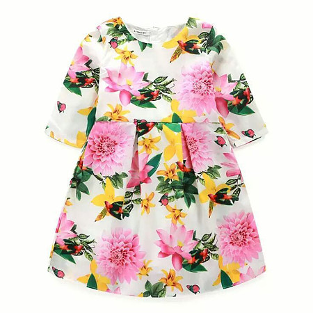 Allover Flower Print Round Neck Pleated Dress