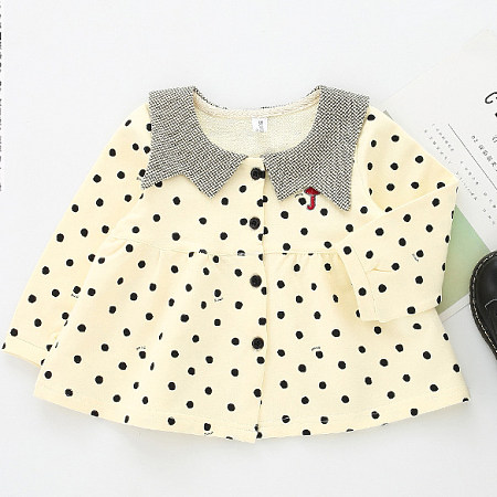 Polka Dot Button Front Flare Dress