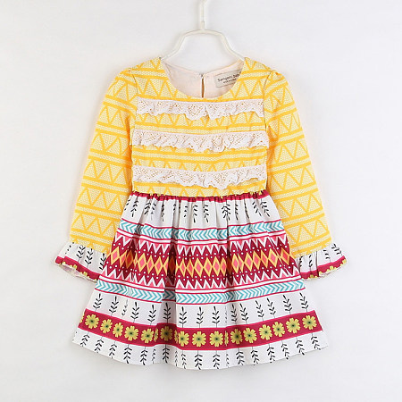 Tribal Print Lace Keyhole Back Dress