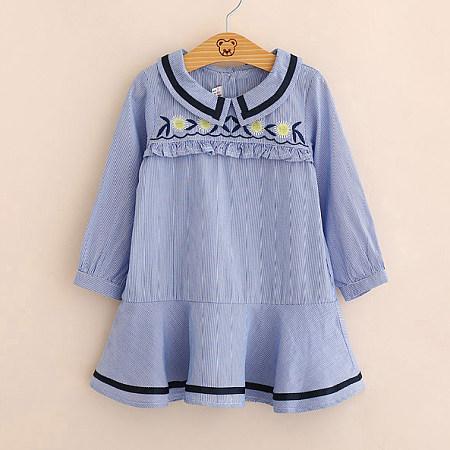 Pinstripe Doll Collar Ruffle Trim Dress