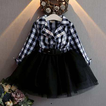 Plaid Notch Collar Patchwork Tulle  Dress