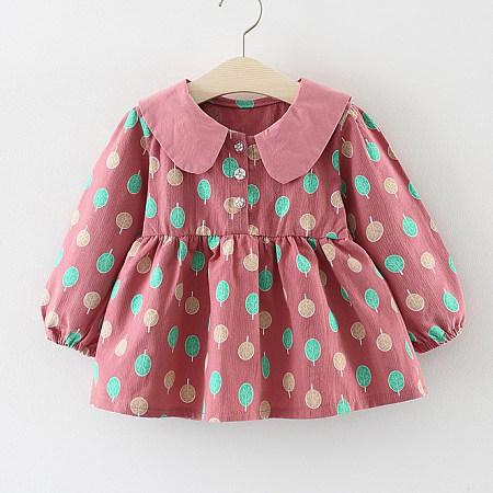Doll Collar Leaf Print Flare Dress