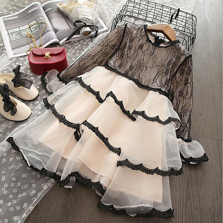 Lace Round Neck Tiered Dress