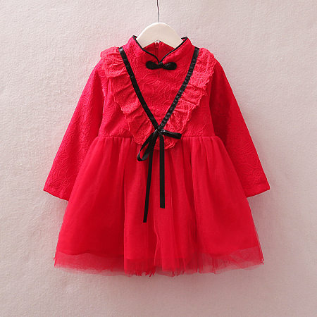 V Ruffle Trim Solid Color Tulle Self Tie Dress