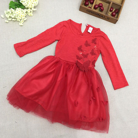 Butterfly Applique Solid Red Tulle Dress