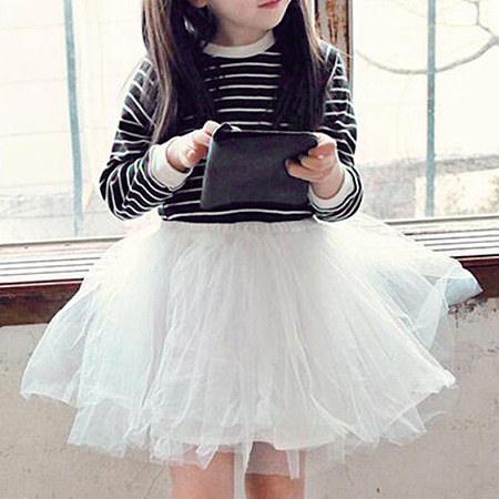 Stripe Round Neck  Tiered Tulle Dress
