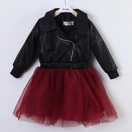 Notch Collar Zipper Tulle Patchwork Dress
