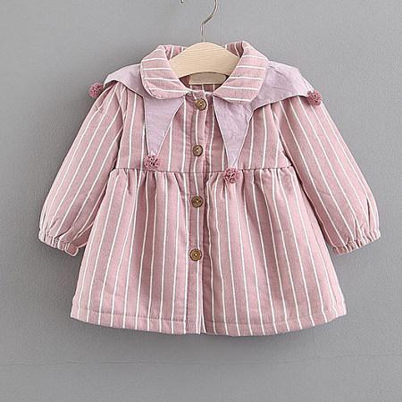 Stripe Button Doll Collar Flare Dress