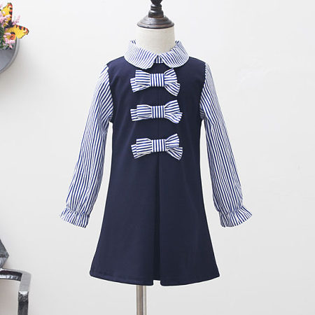 Bowknot Stripe Doll Collar Zipper Back Dress