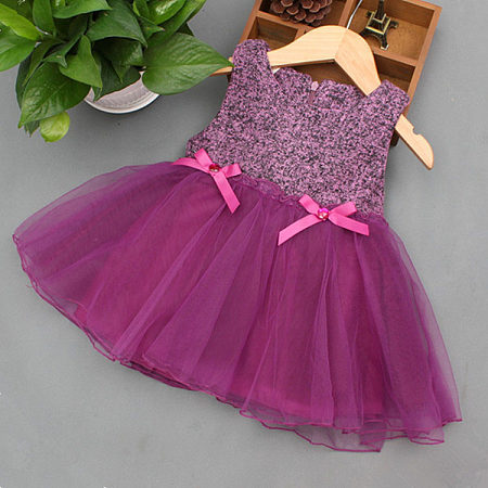 Tulle Round Neck Zipper Back Tiered Dress
