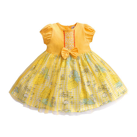 Cartoon Figure Print Round Neck Tulle Dress