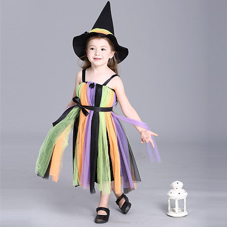 Halloween Colorful Stripe Tulle Cami Dress With Hat