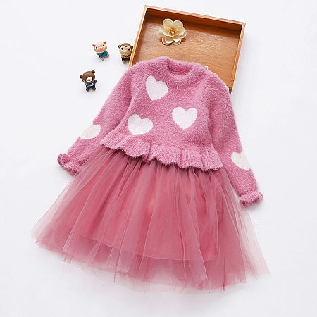 Heart Print Ruffle Trim Tulle Sweater Dress