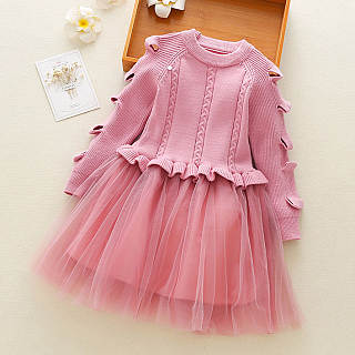 Ruffle Trim Round Neck Tulle Sweater Dress