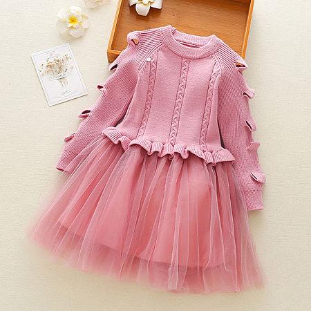 Ruffle Trim Round Neck Tulle Sweater Dress