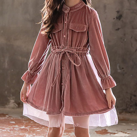 Pocket Solid Color Self Tie Tulle Dress