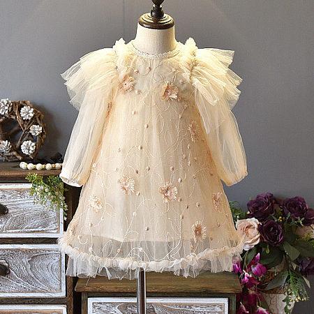 Flower Applique Ruffle Trim Tulle Dress