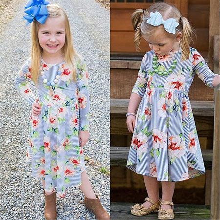 Allover Flower Print Vertical Stripe Dress
