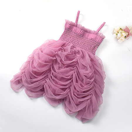 Ruffle Trim Solid Color Tiered Tulle Cami Dress