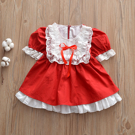 Puff Sleeve Lace Ruffle Hem Dress, red, DR18093009