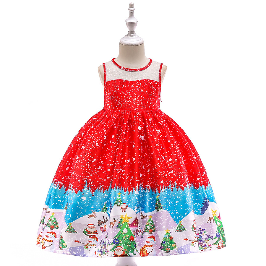 889645d3f Christmas Tree Print Sleeveless Princess Dress - popreal.com