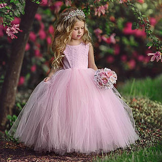 Tulle Sleeveless Solid Pink Princess Dress