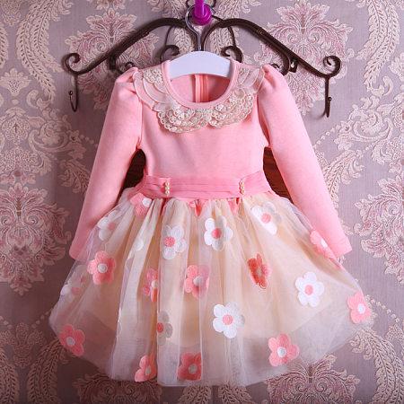 Flower Applique Self Tie Pink Dress