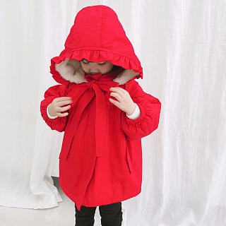 Ruffle Trim Self Tie Hooded Red Thickened Coat