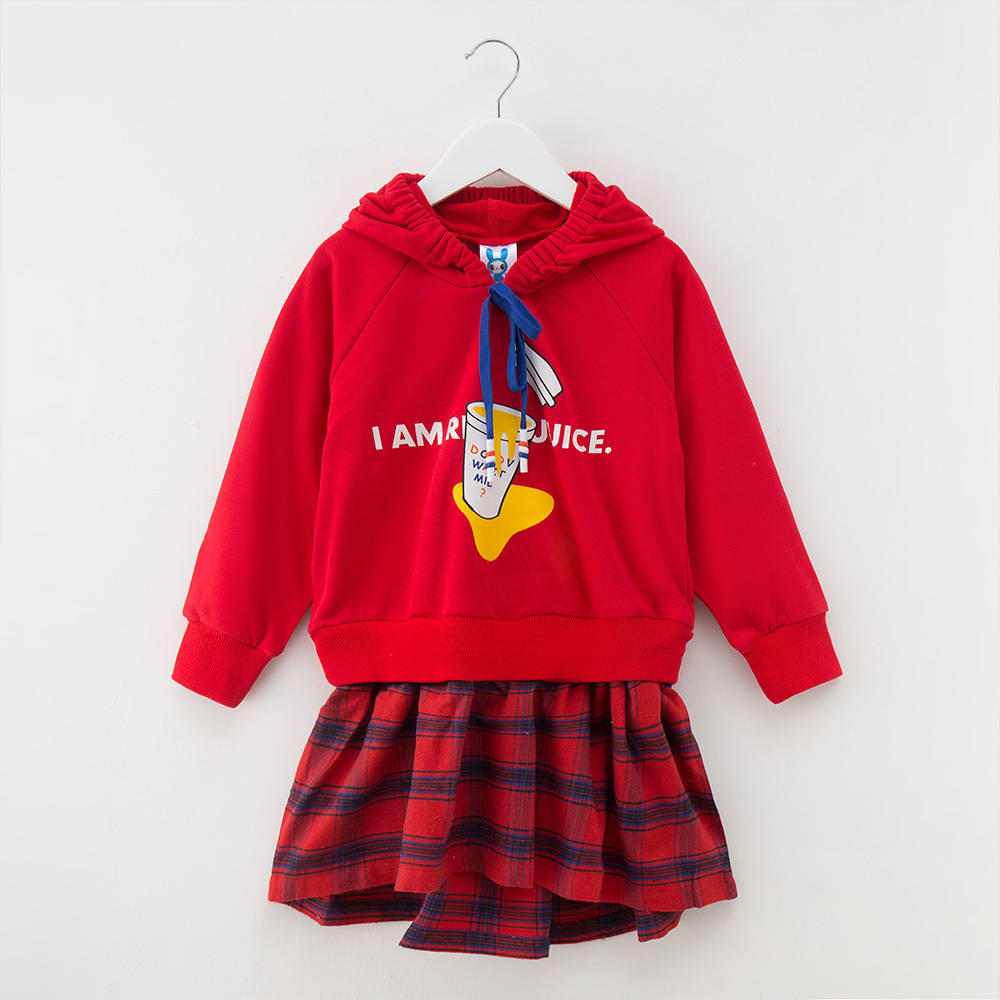 Letter Pattern Plaid Hooded Dress