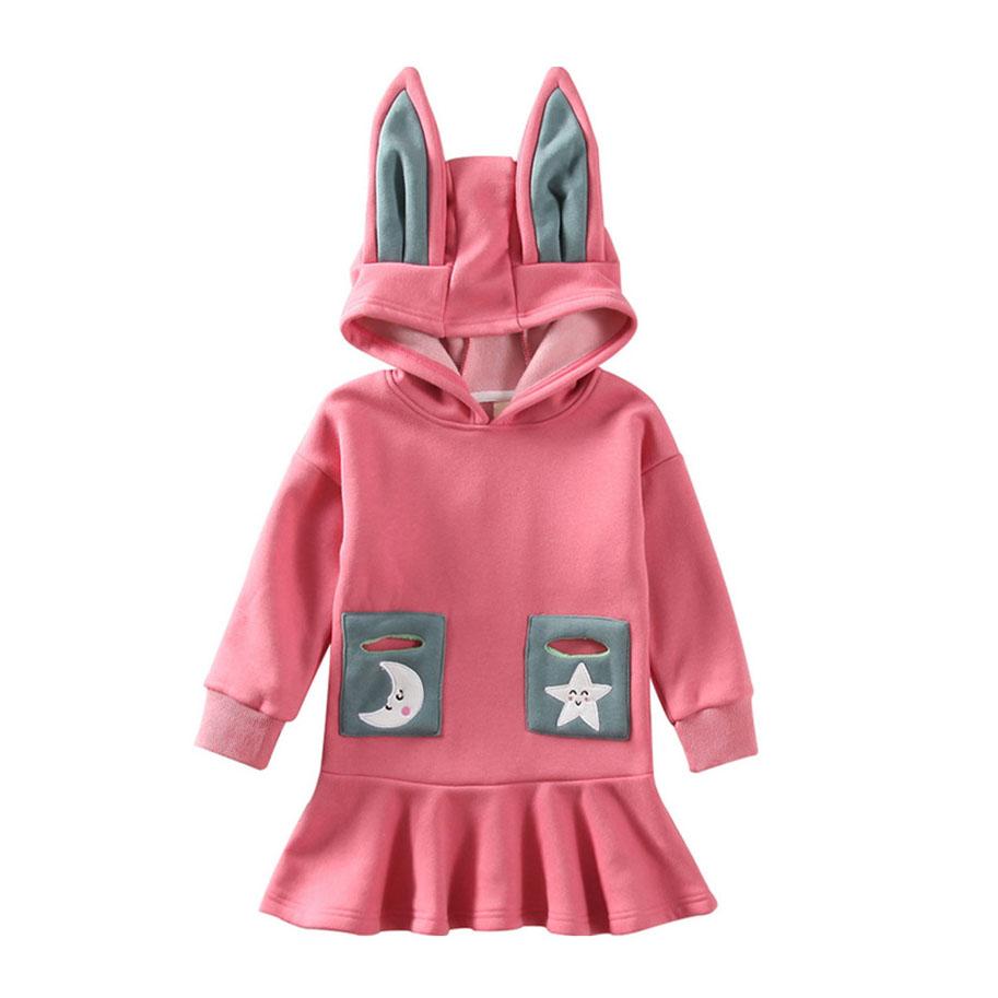 Star Moon Pattern Cartoon Ear Hooded Dress