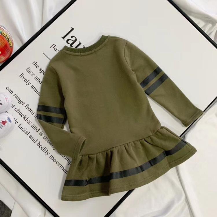 Stripe Long Sleeve Ruffle Hem Dress
