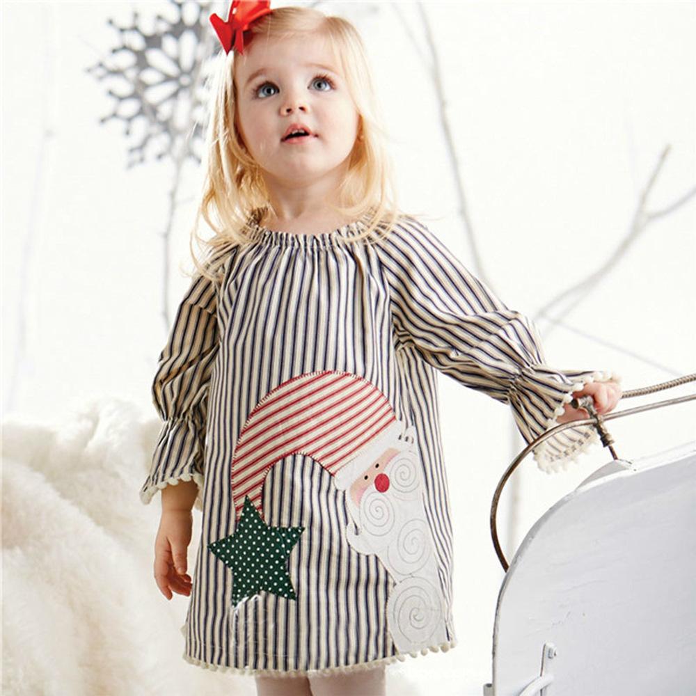 Santa Claus Pattern Trumpet Sleeve Stripe Dress