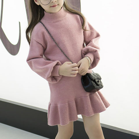 Lantern Sleeve Solid Color Sweater Dress