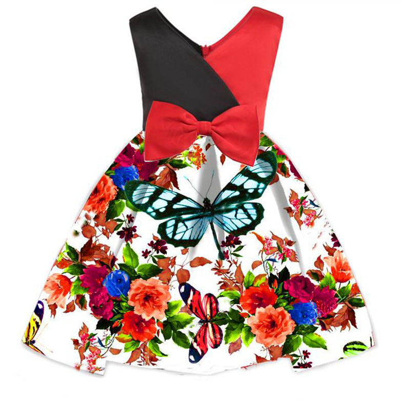 Butterfly Flower Print Bowknot Princess Dress