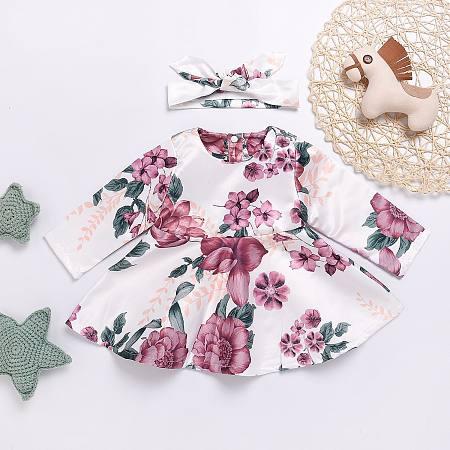 Allover Flower Print Button Back Dress
