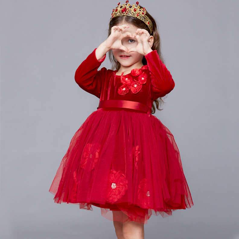 Flower Decorated Solid Color Tulle Princess Dress