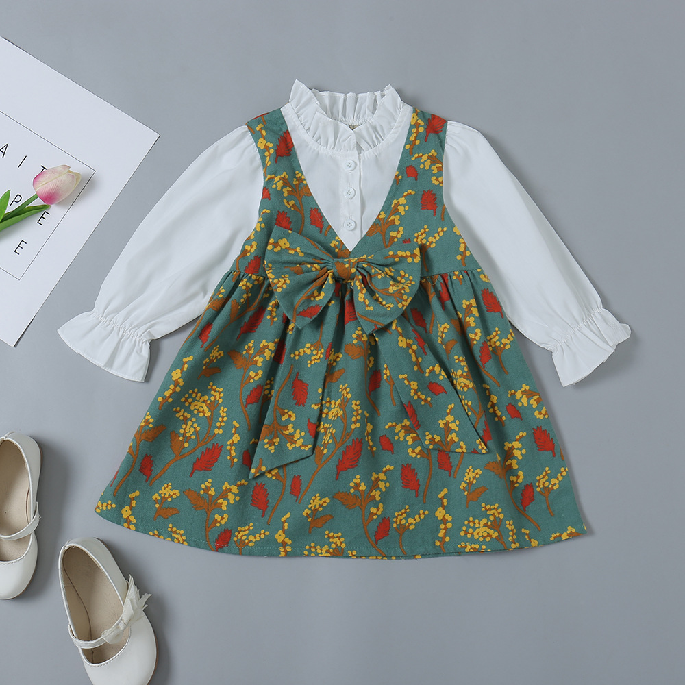 Floral Print Bowknot Embellished Fake Two-Piece Dress