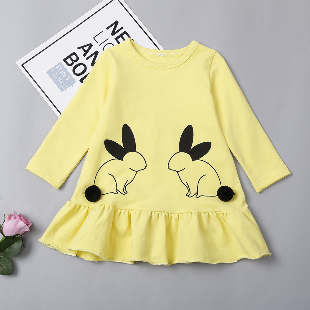 Double Bunny Pattern Ruffle Hem Dress