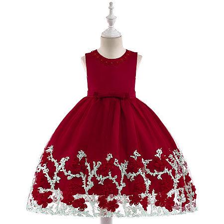 Flower Applique Bowknot Princess Dress